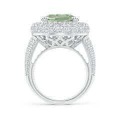 Toggle GIA Certified Oval Green Amethyst (Prasiolite) Triple Halo Ring