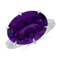 East-West GIA Certified Oval Amethyst Solitaire Ring
