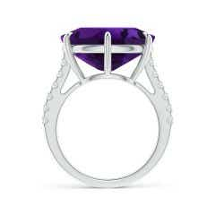 Toggle East-West GIA Certified Oval Amethyst Solitaire Ring