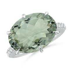Horizontal GIA Certified Oval Green Amethyst Solitaire Ring