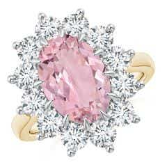 Claw-Set GIA Certified Oval Pink Morganite Floral Halo Ring - CTW 4.99