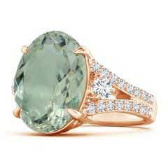 GIA Certified Oval Green Amethyst Split Shank Ring