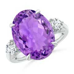 Classic GIA Certified Amethyst Three Stone Ring with Diamond