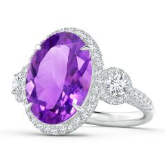 GIA Certified Oval Amethyst Three Stone Ring with Diamond