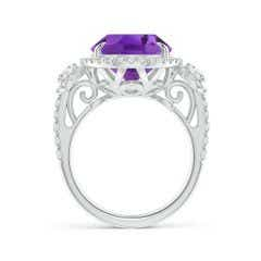 Toggle GIA Certified Oval Amethyst Three Stone Ring with Diamond