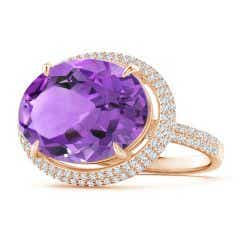Horizontal GIA Certified Oval Amethyst Cocktail Ring