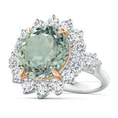 Claw-Set GIA Certified Green Amethyst (Prasiolite) Floral Halo Ring