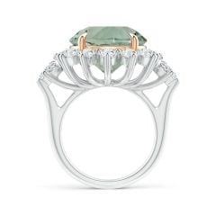 Toggle Claw-Set GIA Certified Green Amethyst Floral Halo Ring