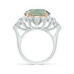 Toggle Claw-Set GIA Certified Green Amethyst (Prasiolite) Floral Halo Ring