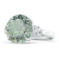 Classic GIA Certified Round Green Amethyst Three Stone Ring