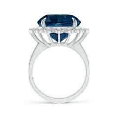 Toggle Vintage Style GIA Certified Round London Blue Topaz Halo Ring - 9.79 CT TW