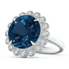 Vintage Style GIA Certified Round London Blue Topaz Halo Ring