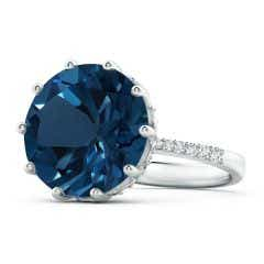 GIA Certified London Blue Topaz Solitaire Ring with Diamonds