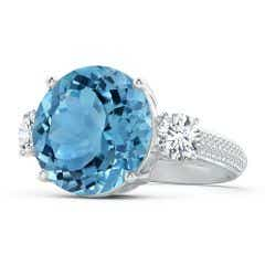 GIA Certified Round Sky Blue Topaz Three Stone Ring