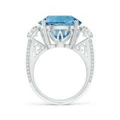Toggle GIA Certified Round Sky Blue Topaz Three Stone Ring