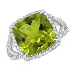 GIA Certified Cushion Peridot Split Shank Halo Ring