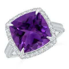 Angara Vintage Style GIA Certified Amethyst Halo Cocktail Ring 1gbPko
