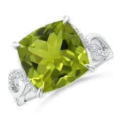 GIA Certified Peridot Twist Infinity Ring with Diamonds - 3.94 CT TW