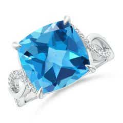 Cushion Swiss Blue Topaz Twist Infinity Ring with Diamonds