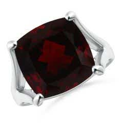 GIA Certified Solitaire Cushion Garnet Split Shank Ring