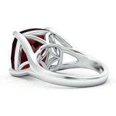 Toggle GIA Certified Solitaire Cushion Garnet Split Shank Ring