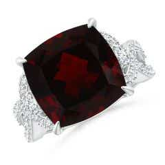 GIA Certified Cushion Garnet Twist Shank Ring with Diamonds