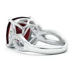 Toggle GIA Certified Cushion Garnet Twist Shank Ring with Diamonds