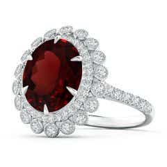 Two Tone GIA Certified Oval Garnet Double Halo Ring
