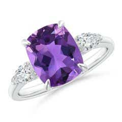 Cushion Amethyst Three Stone Ring with Diamonds
