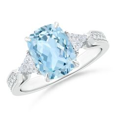 Cushion Aquamarine Ring with Trillion Diamonds