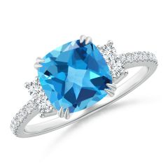 Double Claw-Set Cushion Swiss Blue Topaz Ring