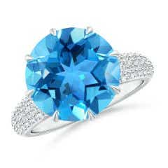 Classic Round Swiss Blue Topaz Crown Ring