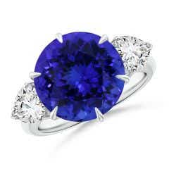 GIA Certified Round Tanzanite Ring with Heart-Shaped Diamonds