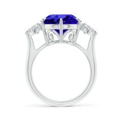Toggle GIA Certified Round Tanzanite Ring with Heart-Shaped Diamonds