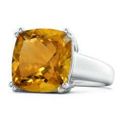 Solitaire GIA Certified Cushion Citrine Tapered Shank Ring