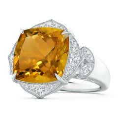 Art Deco Style GIA Certified Citrine Ring with Leaf Motifs