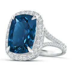 GIA Certified Rectangular Cushion London Blue Topaz Ring