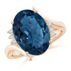 GIA Certified London Blue Topaz Bypass Ring with Diamonds