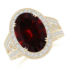 Vintage Style GIA Certified Oval Garnet Split Shank Ring