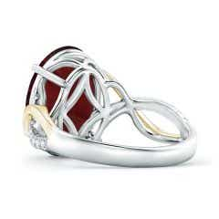 Toggle Two Tone GIA Certified Oval Garnet Crossover Ring