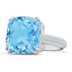 GIA Certified Cushion Sky Blue Topaz Solitaire Ring