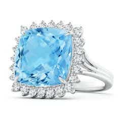 GIA Certified Cushion Sky Blue Topaz Ring with Floral Halo