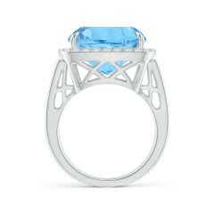 Toggle GIA Certified Sky Blue Topaz Halo Ring with Geometric Motifs