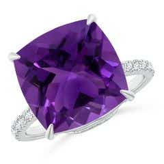GIA Certified Cushion Amethyst Ring with Diamonds - 4.47 CT TW
