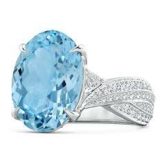 GIA Certified Sky Blue Topaz Twist Shank Ring with Diamonds