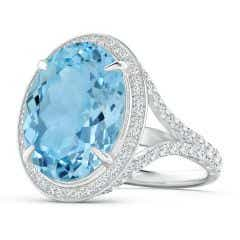 GIA Certified Oval Sky Blue Topaz Cocktail Ring