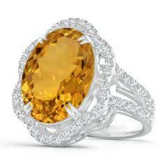 GIA Certified Oval Citrine Scalloped Halo Ring