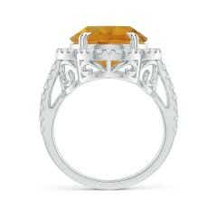 Toggle GIA Certified Oval Citrine Scalloped Halo Ring