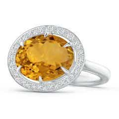 Horizontal GIA Certified Oval Citrine Ring with Diamond Halo