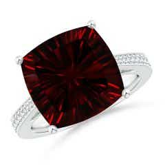 GIA Certified Cushion Garnet Reverse Tapered Shank Ring